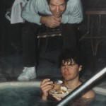 Gary, Jr in Jacuzzi with Gary Sr in Picture